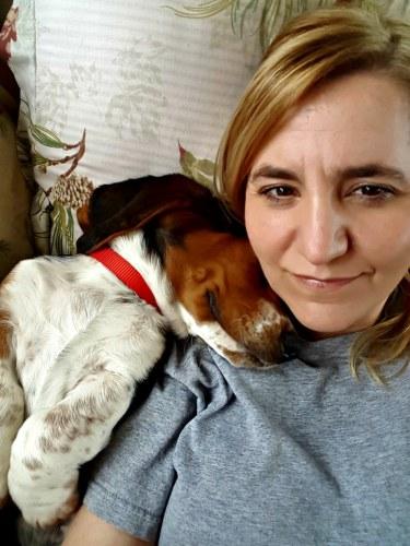 Bugatti sleeping and cuddling into my neck