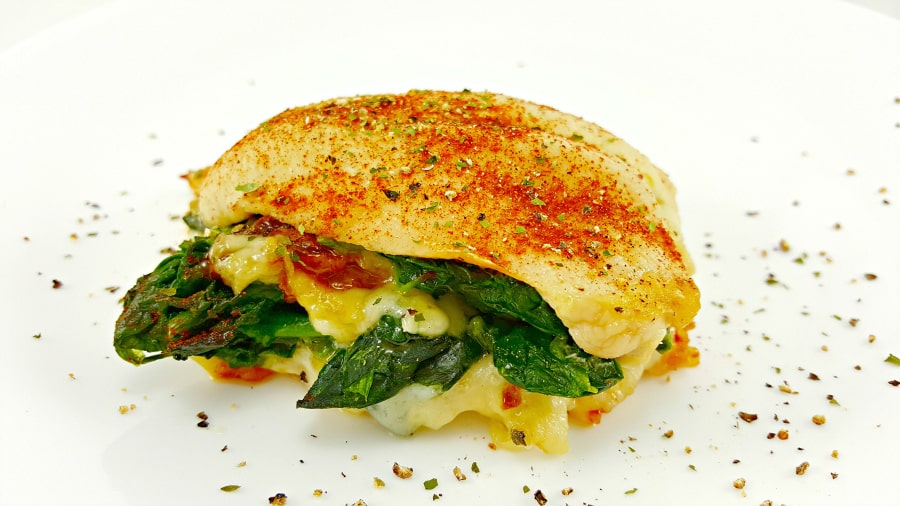 Cheesy Spinach Stuffed Chicken Recipe for Two - easy lunch or dinner for two. Low Carb and Gluten Free