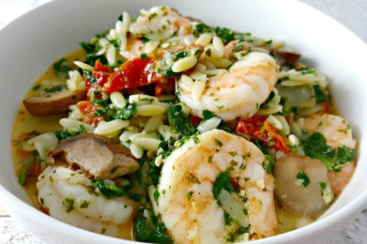 Garlic Orzo Tuscan Shrimp for Two - delicious and creamy shrimp and orzo dinner