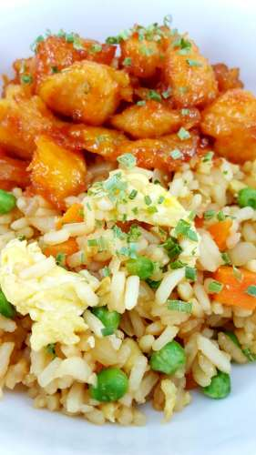 This Baked Sweet and Sour Chicken with Homemade Fried Rice is seriously the best! It's super easy and so delicious. The best part is you can make it at home and skip running for takeout. We love this dish so much we have it a couple of times each month, sometimes more!