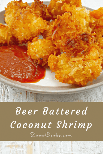 Beer Battered Coconut Shrimp is a delicious flavor sensation with sweet coconut, crunchy Panko Japanese bread crumbs, and beer batter fried to crispy golden brown perfection! We enjoyed ours with regular Shrimp Cocktail Sauce and crispy french fries. You could use any sauce recipe you like.