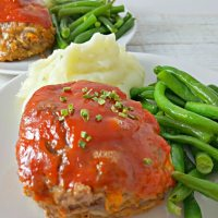 Individual Cheddar Meatloaves for Two with sweet homemade sauce