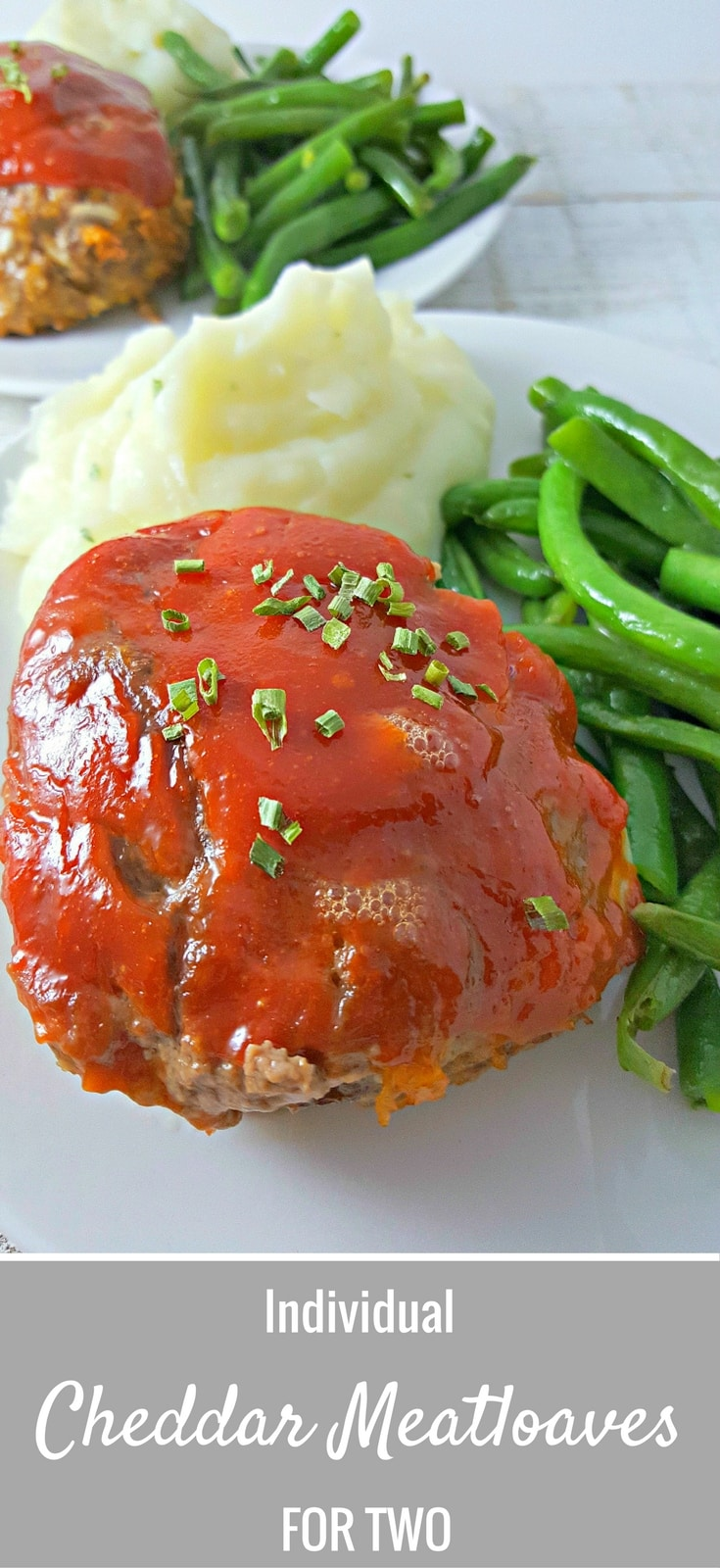 Individual Cheddar Meatloaves for Two - These individual meatloaves are filled with gooey cheddar and onion with a sweet barbecue topping. You could add a little heat to the barbecue by adding a dash of cayenne to it. This is another great option for your next romantic dinner for two. I like to serve mine with mashed potatoes and green beans or steamed broccoli.