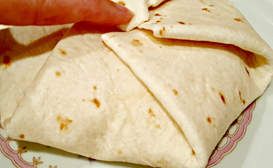 Breakfast Crunchwraps - fold the tortilla edges in toward the center
