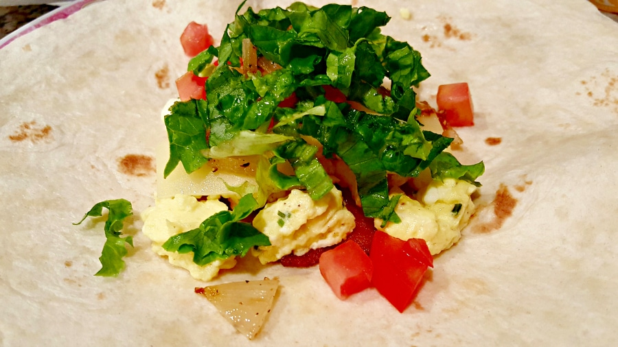 Breakfast Crunchwraps - add onion, tomato, and lettuce