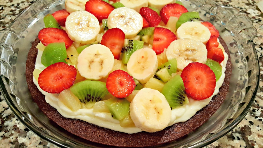 Fruity Brownie Pizza - add fruit over cream cheese topping