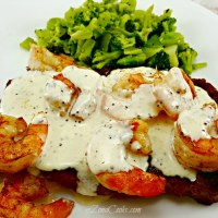 Ribeye Steak and Shrimp with Parmesan Sauce for Two - tender, juicy, and savory romantic dinner for two