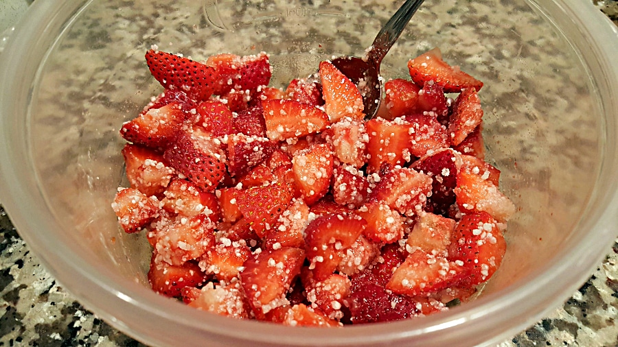 Strawberry Cobbler for Two - mix strawberry ingredients in a blow
