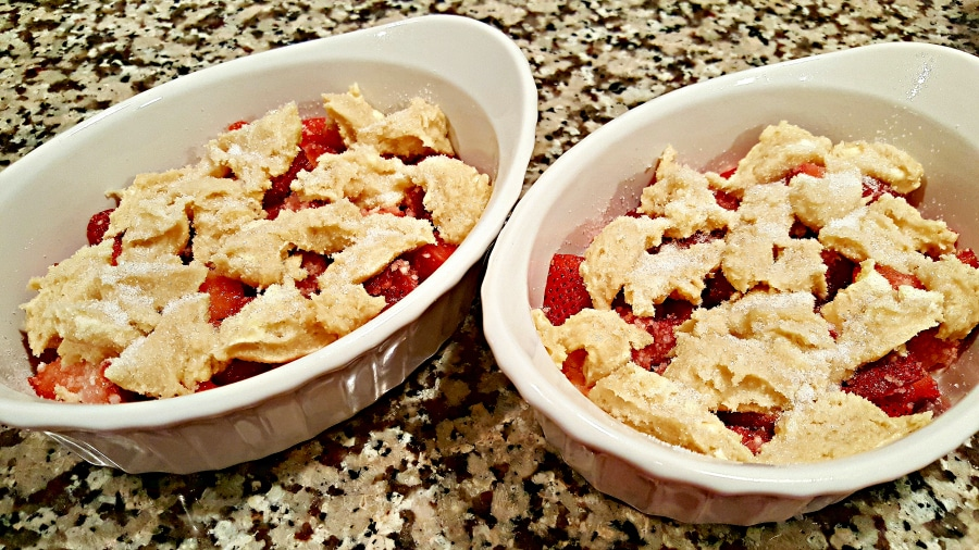 Strawberry Cobbler for Two - add the batter topping and sprinkle with sugar