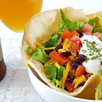 Taco Salad in Edible Bowls for Two - fun, easy and delicious dinner for two