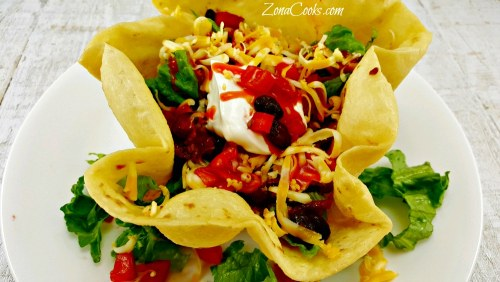 Taco Salad in Edible Bowls for Two - delicious and easy!