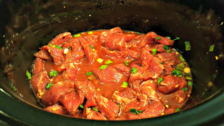 Crockpot Mongolian Beef for Two - add the beef to the slow cooker