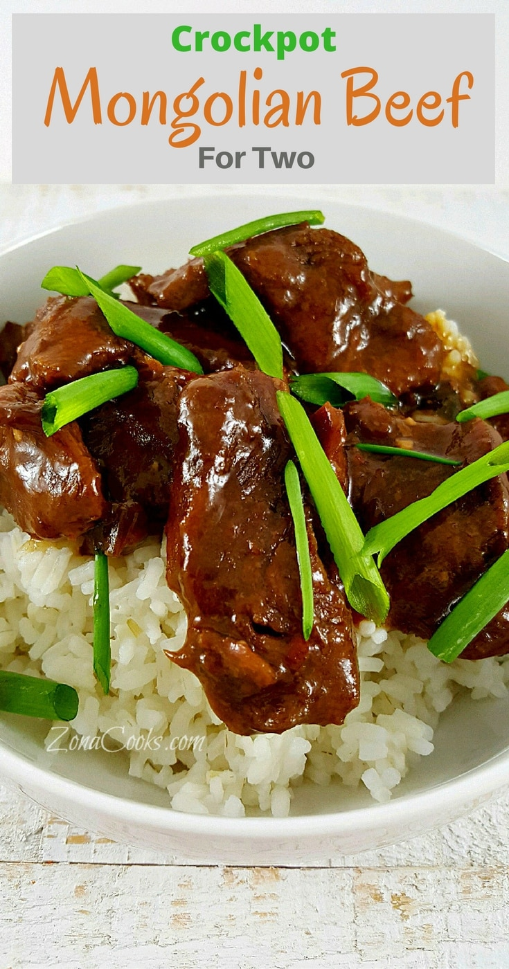 Crockpot Mongolian Beef for Two - This is a quick and easy to prepare slow cooker recipe of Mongolian Beef for two. The beef is incredibly tender and the sauce has an amazing savory and sweet flavor. You can adjust the heat by adding more or less red pepper flakes. Serve it over a bed of fluffy rice.