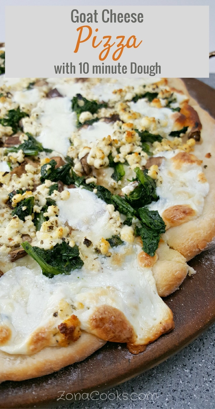 Goat Cheese Pizza with 10 minute dough - This white cheese pizza is easy, quick and has a delicious savory flavor with goat cheese, spinach, mushrooms and gooey melted mozzarella cheese. The dough only takes about 10 minutes to prepare. White cheese pizza generally has no sauce, just a covering of some garlic, olive oil and herbs, often topped with mozzarella cheese and whatever other toppings you prefer. But you can also put a creamywhite sauce, like an Alfredo or béchamelsauce, on yourpizza if you prefer. Chicken would also be a nice addition on this pizza. This recipe makes a small size pizza about 12 inches. Perfect for a romantic date night, or weekend lunch.