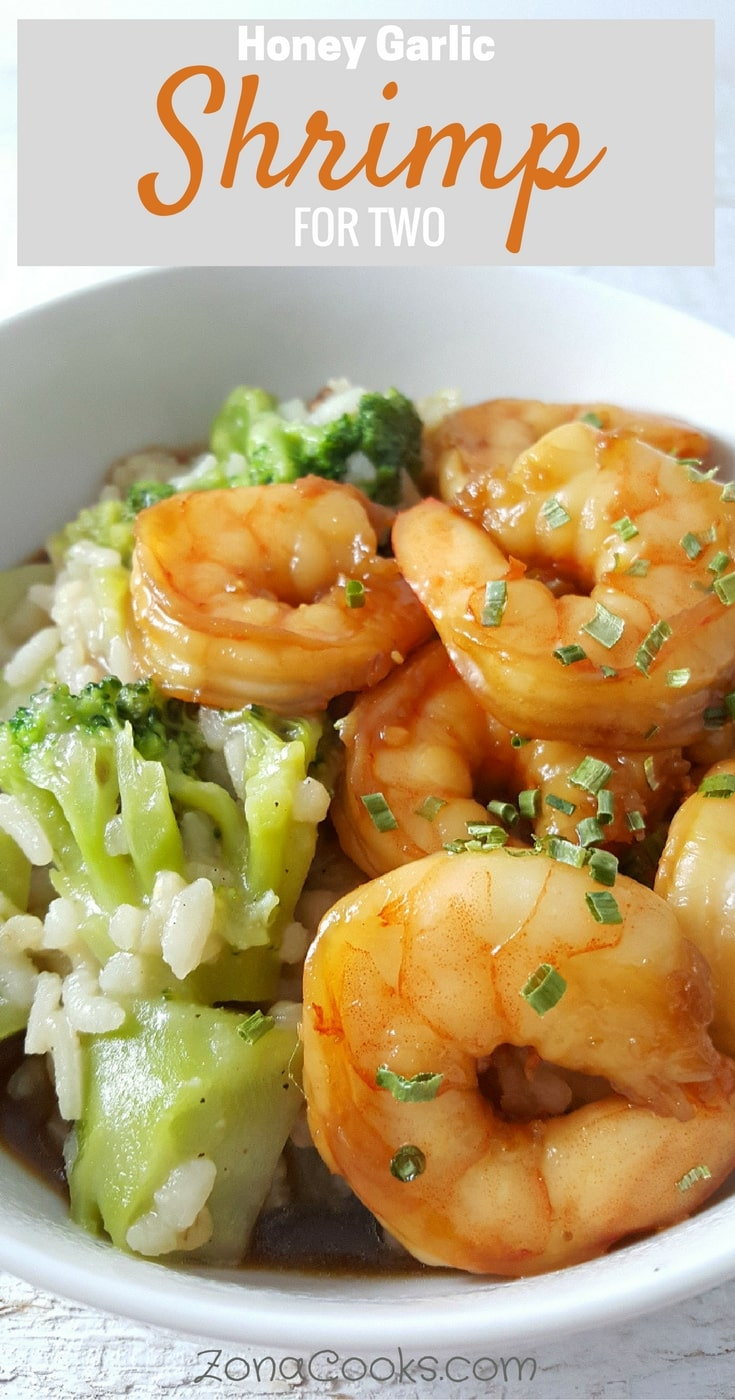 "Honey Garlic Shrimp for Two - This Honey Garlic Shrimp is super easy and delicious, ready in just 20 minutes. The marinade is made by mixing together honey, soy sauce, garlic, and ginger. The sauce is excellent served over brown rice and steamed veggies on the side which you can prepare while the shrimp is marinating. I use frozen packaged shrimp labeled ""peeled, deveined and tails removed"" for even easier meal prep but you can also use fresh. This is a perfect dinner or lunch recipe for two, or a romantic date night meal."