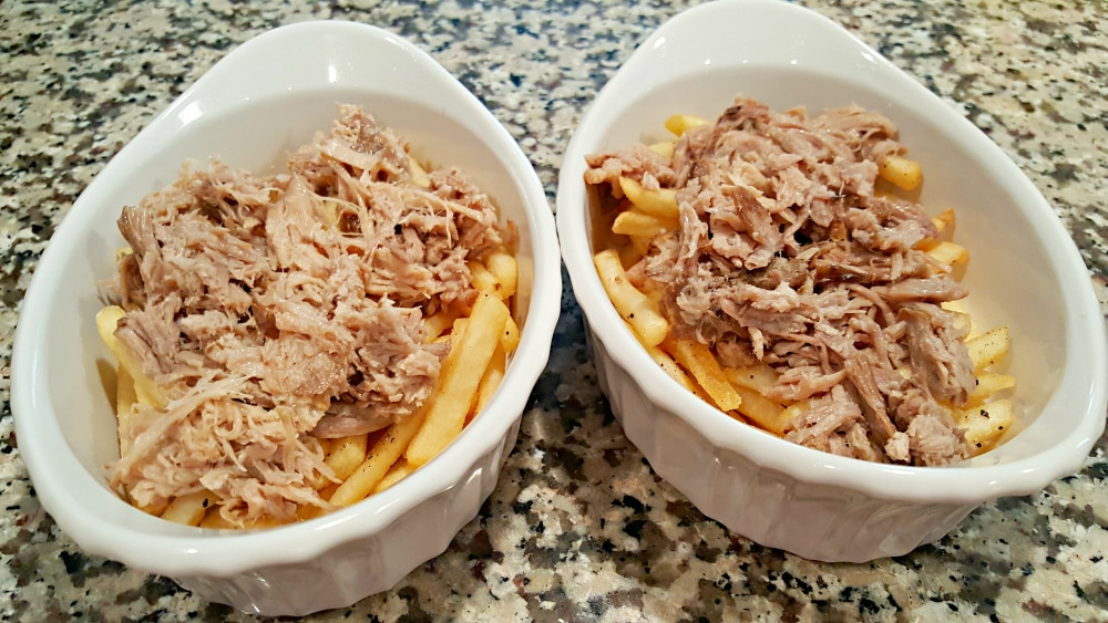 BBQ Pulled Pork Fries Recipe - place pork over fries