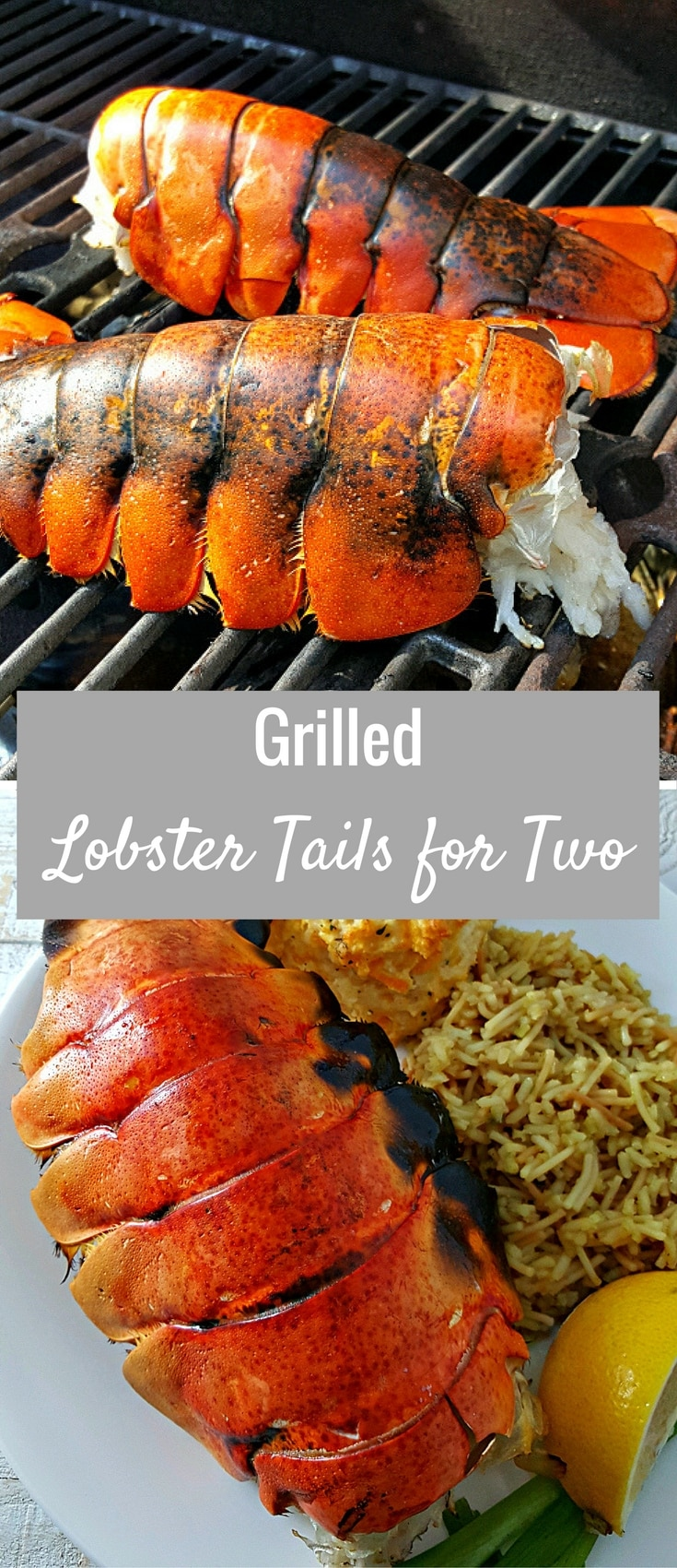Grilled Lobster Tails Recipe for Two - A lobster lover's delight, these succulent grilled lobster tails are super quick and easy. Dip the flavorful meat into the rich buttery sauce. Lobster can be expensive but we spent about a quarter of what this would cost at a restaurant and felt like we were eating like kings. This recipe is a true taste of seafood at its finest. Sometimes you just need to treat yourselves with the finest food. Romantic dinner for date night.