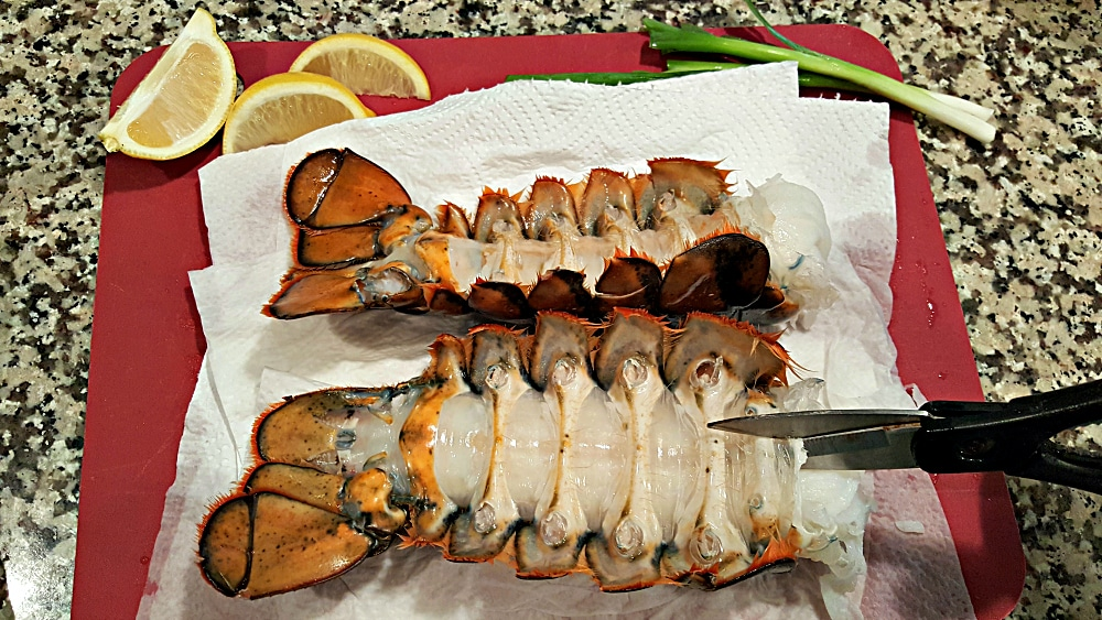 Grilled Lobster Tails Recipe for Two - cut the underside of the lobster lengthwise