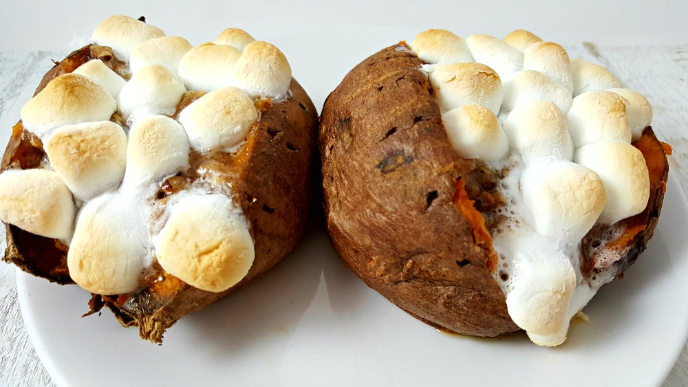 Stuffed Sweet Potatoes with Pecan Marshmallow Streusel Recipe - crock pot slow cooker or bake!