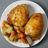One Pan Roasted Chicken and Veggies - serves 2