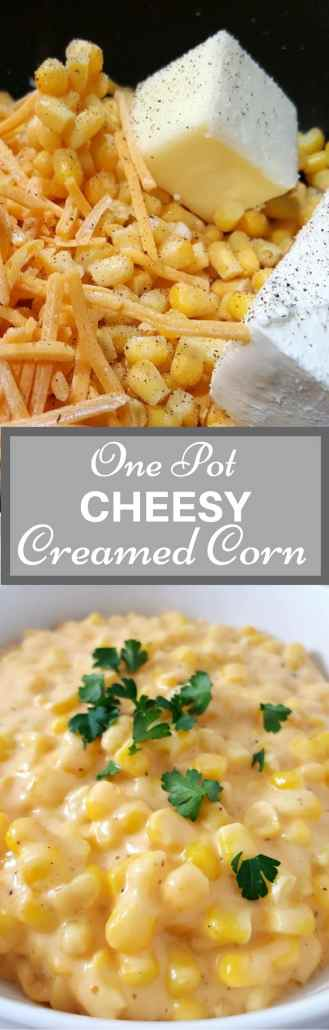 One Pot Cheesy Creamed Corn has a delicious combination of buttery corn mixed with cream cheese, cheddar cheese, and seasonings. This cheesy version is so much better than a store bought can of creamed corn. It is easy and quick to make, ready in just 15 minutes. #onepan #onepot #CreamedCorn #SideDish #EasyRecipe #BestRecipe #SmallBatch