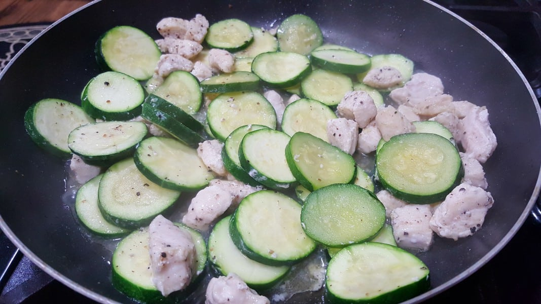 Chicken Zucchini Bake Low Carb Recipe for Two - cook chicken and zucchini in a frying pan
