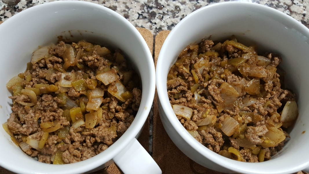 Individual Mexican Casseroles Recipe - layer half of the beef mixture in each bowl