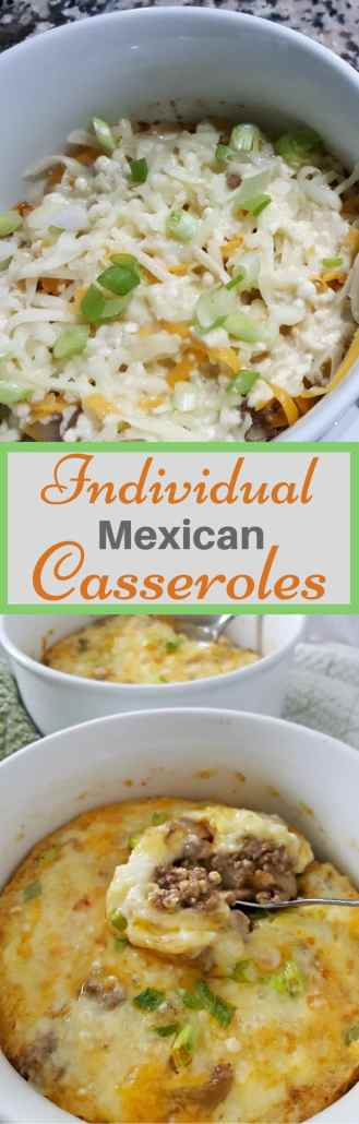 These easy Individual Mexican Casseroles have mild flavors of green chiles combined with onions, garlic, ground beef, cheese and Mexican spices making this hot dish delicious and satisfying. The milk, egg, and flour form a quiche-like top layer. This recipe for two is very versatile. You can add in your favorite ingredients like tomato or refried beans. It can also be served for breakfast, lunch or dinner. #recipesfortwo #dinnerfortwo #lunchfortwo #mexican #casserole #easyrecipes #groundbeef