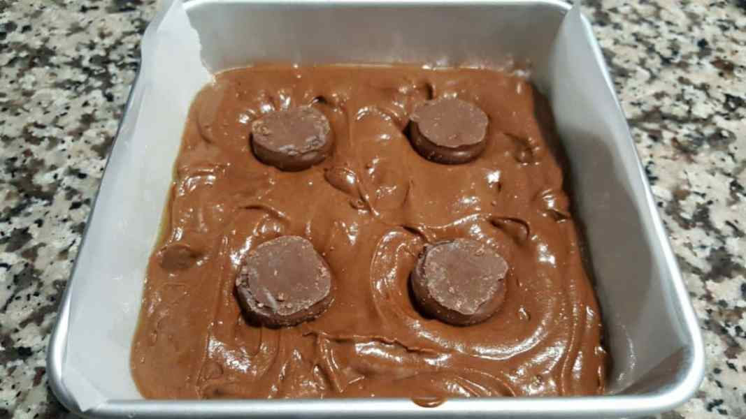 Chocolate Covered Cherry Cordial Brownies Small Batch Recipe - press 4 cherry cordials into the brownie batter