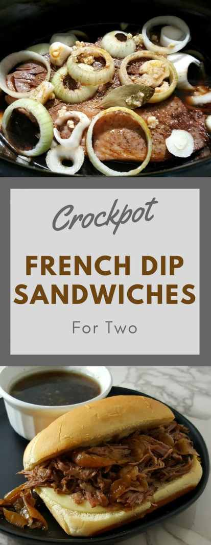 Crockpot French Dip Sandwiches have tender and juicy beef roast and onions cooked long and slow and served on a toasted hoagie with melted provolone cheese. The cooking broth makes an awesome Au Jus for dipping. This is an easy small batch recipe perfect for lunch or dinner for two. #FrenchDip #FrenchDipSandwiches #DinnerForTwo #beef #AuJus #LunchForTwo #DateNight
