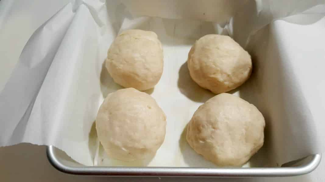 Dinner Rolls Small Batch Recipe - place dough balls into cake pan