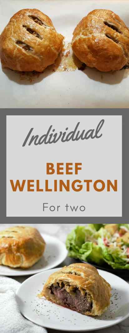 This Individual Beef Wellington dish has a savory mushroom filling topped with incredibly tender beef and wrapped in golden puff pastry that is crispy yet also melts in your mouth at the same time. This elegant but easy dinner makes a very impressive date night meal for two. It is perfect as an intimate Valentine's Day, Christmas or New Year's Eve dinner. #BeefWellington #Beef #DinnerForTwo #ValentinesDay #Christmas #NewYearsEve #RecipesForTwo #PuffPastry