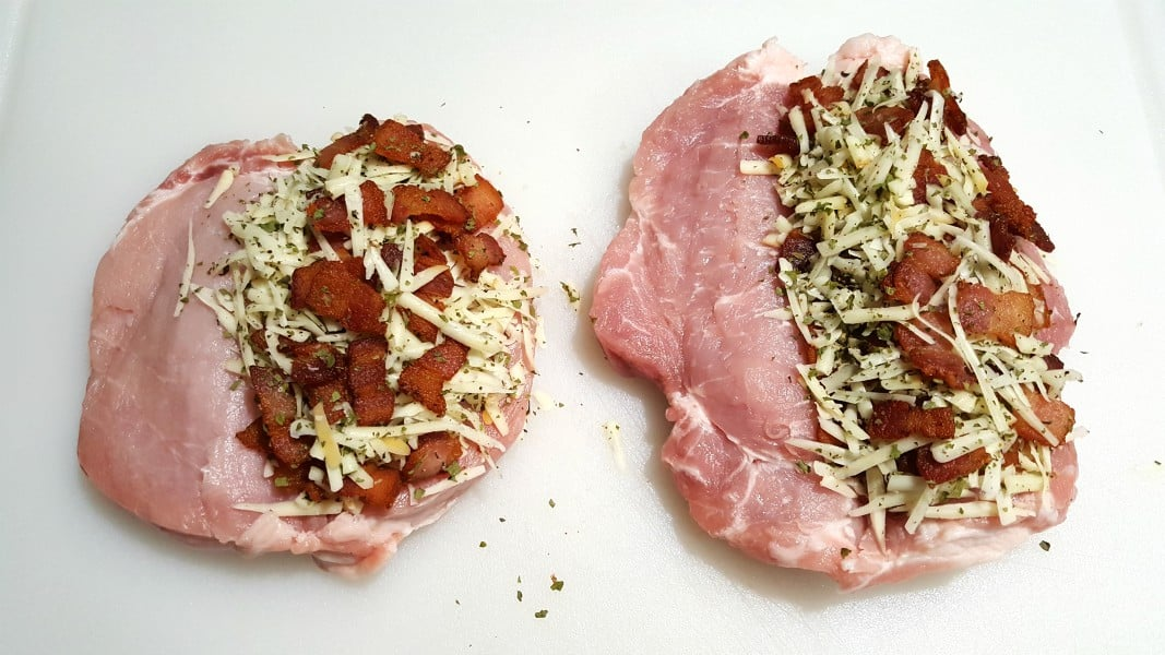 Smoked Gouda and Bacon Stuffed Pork Chops Recipe for Two - add cheese mixture to pork chops