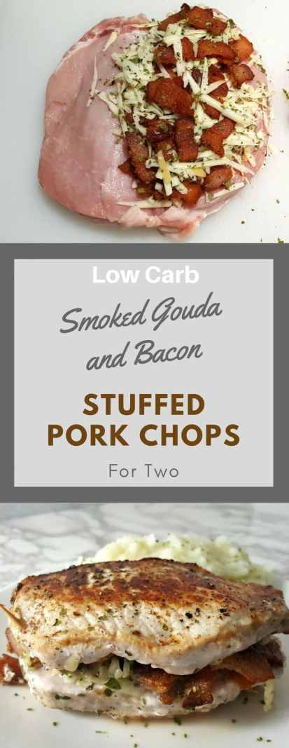 Smoke Gouda and Bacon Stuffed Pork Chops are pan fried golden brown thick savory pork chops filled with melted smoked Gouda cheese and crisp bacon. This recipe is easy, low carb, and quick, ready in just 30 minutes. It makes an impressive lunch or dinner for two. Try it for date night or Valentine's Day. #PorkChops #SmokedGouda #bacon #StuffedPorkChops #DinnerForTwo #LunchForTwo #RecipesForTwo #ValentinesDay #DateNight #LowCarb