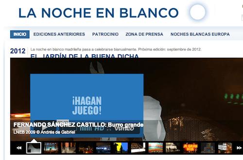 Web de 'La Noche en Blanco', a fecha 6 de septiembre de 2013