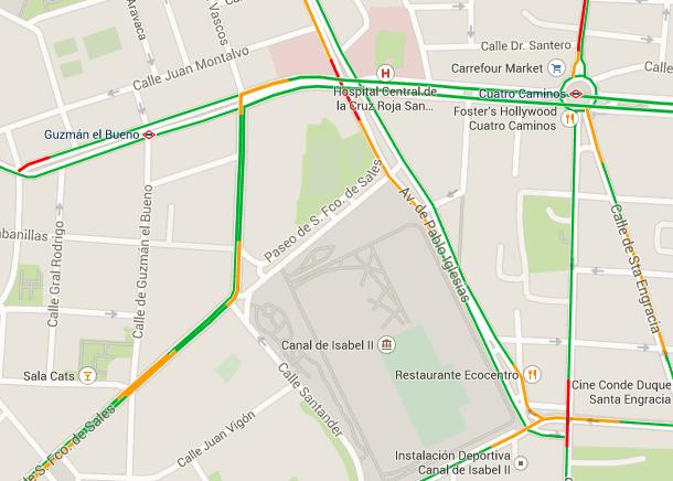 Zonas de congestión de la zona, correspondiente a un día laborable típico entre las 7:30 y las 9:30 horas (Elaboración propia)