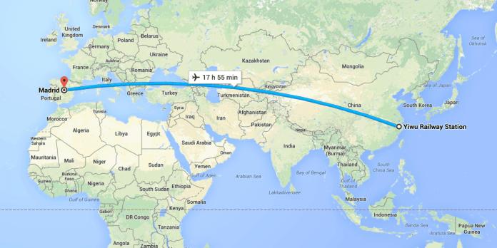 Ruta Yiwu - Madrid, que hasta ahora se hacía en avión (G.M)