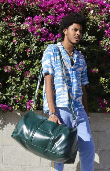 Dark Green Vegan Leather Duffel Bag Weekender Bag