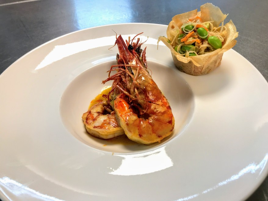 Voorgerecht - Les 12 - Gamba : gele curry : Oosterse salade