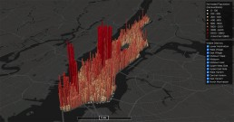 Map of Manhattan with a graph showing the estimated population of different areas