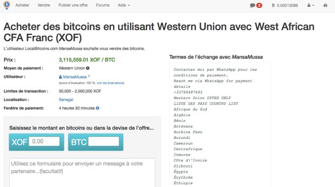 acheter du franc cfa afrique bitcoin