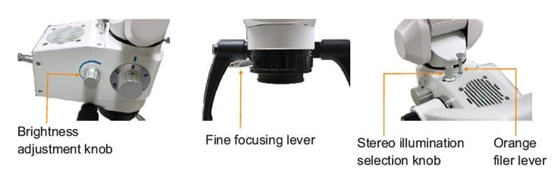 brightness adjustment knob, fine focusing lever, orange filer lever