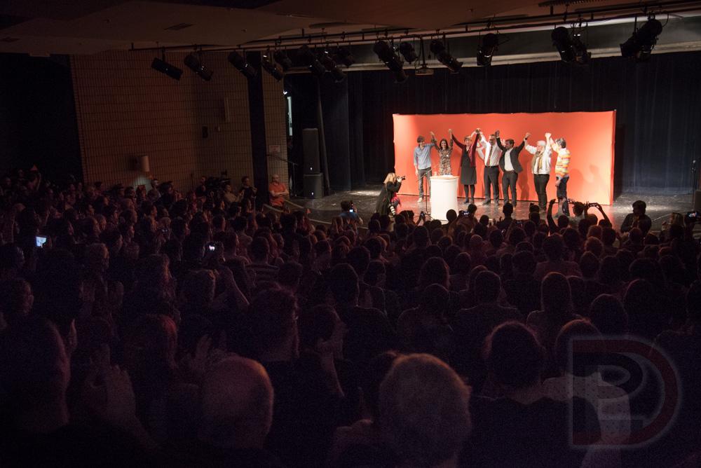 Emmanuel Bilodeau, Maitée Labrecque-Saganash, Françoise David, Andrés Fontecilla-Concha, Gabriel Nadeau-Dubois, Manon Massé et Amir Khadir