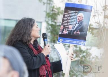 Dominique Daigneault, présidente du Conseil central du Montréal métropolitain de la CSN, rappelle une citation du ministre Gaetan Barrette alors qu'il était président de la Fédération des médecins spécialistes du Québec (FMSQ).