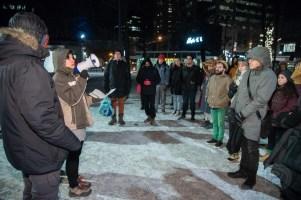 Vigile à Montréal en solidarité avec le camp Unist'ot'en de la nation autochtone Wet'suwet'en en Colombie-Britannique