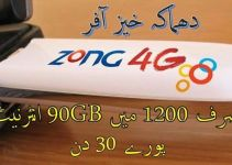 Zong 4G Internet 90GB Monthly Package