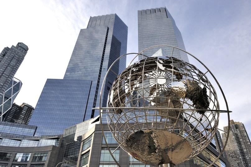 New York,U.S.A.-November 15,2012; Globe at Columbus Circle, Manhattan, New York. November 15,2012,New York