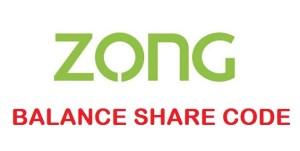 Zong Balance Share Code