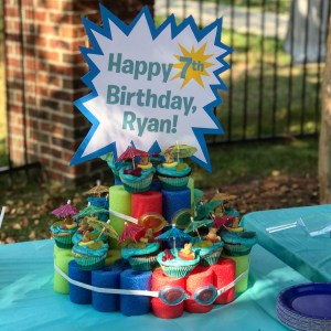 pool noodle cupcake stand kids birthday party