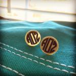 gold mirror monogram earrings by zoo&roo